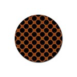 CIRCLES2 BLACK MARBLE & RUSTED METAL Rubber Round Coaster (4 pack)  Front