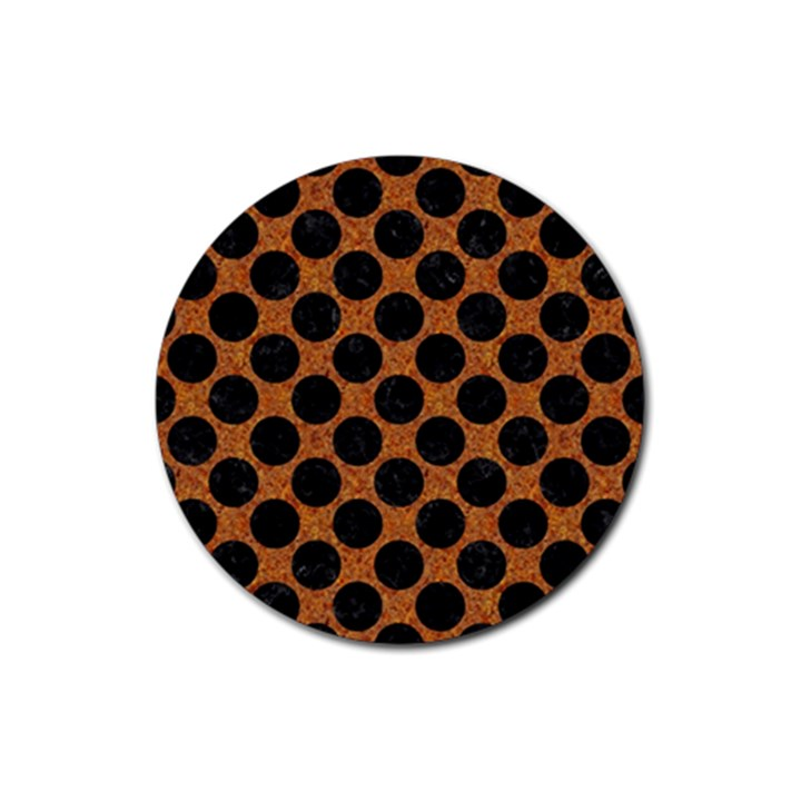 CIRCLES2 BLACK MARBLE & RUSTED METAL Rubber Round Coaster (4 pack)