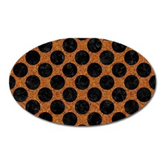 Circles2 Black Marble & Rusted Metal Oval Magnet by trendistuff