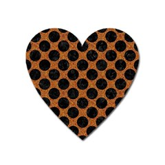 Circles2 Black Marble & Rusted Metal Heart Magnet by trendistuff