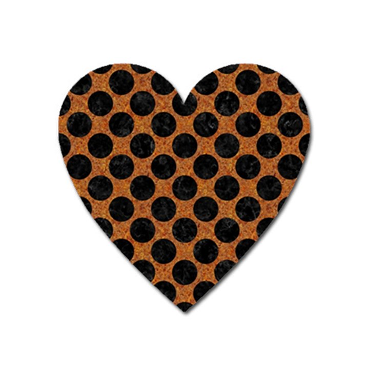 CIRCLES2 BLACK MARBLE & RUSTED METAL Heart Magnet