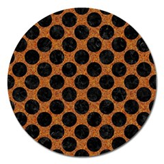 Circles2 Black Marble & Rusted Metal Magnet 5  (round) by trendistuff