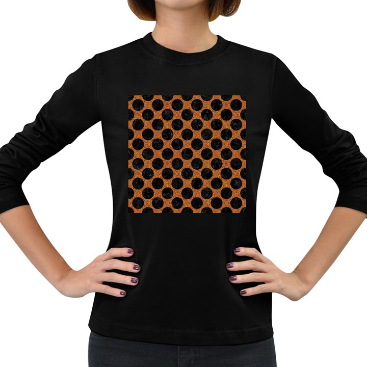 CIRCLES2 BLACK MARBLE & RUSTED METAL Women s Long Sleeve Dark T-Shirts
