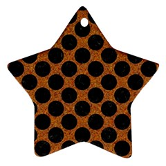 Circles2 Black Marble & Rusted Metal Star Ornament (two Sides)
