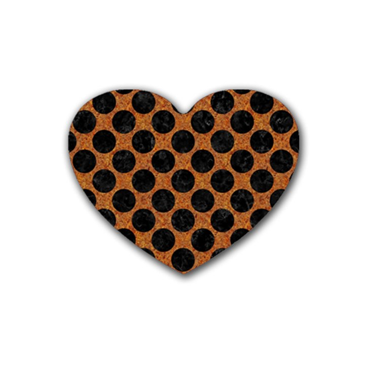 CIRCLES2 BLACK MARBLE & RUSTED METAL Rubber Coaster (Heart)
