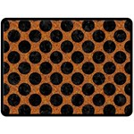 CIRCLES2 BLACK MARBLE & RUSTED METAL Fleece Blanket (Large)  80 x60 Blanket Front