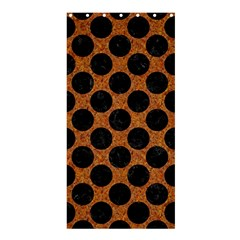 Circles2 Black Marble & Rusted Metal Shower Curtain 36  X 72  (stall)  by trendistuff