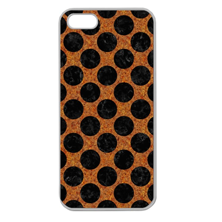 CIRCLES2 BLACK MARBLE & RUSTED METAL Apple Seamless iPhone 5 Case (Clear)
