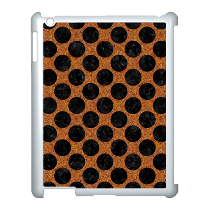 CIRCLES2 BLACK MARBLE & RUSTED METAL Apple iPad 3/4 Case (White)