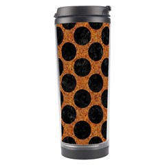 Circles2 Black Marble & Rusted Metal Travel Tumbler