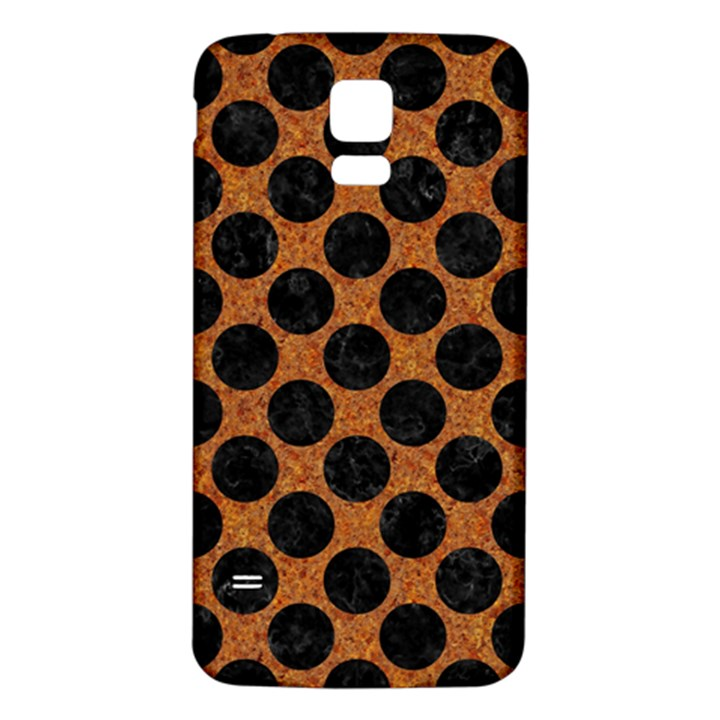 CIRCLES2 BLACK MARBLE & RUSTED METAL Samsung Galaxy S5 Back Case (White)