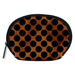 Circles2 Black Marble & Rusted Metal Accessory Pouches (medium)  by trendistuff
