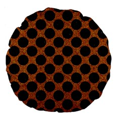 Circles2 Black Marble & Rusted Metal Large 18  Premium Flano Round Cushions by trendistuff