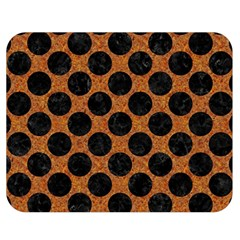 Circles2 Black Marble & Rusted Metal Double Sided Flano Blanket (medium)  by trendistuff