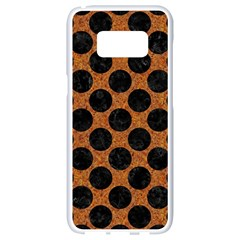 Circles2 Black Marble & Rusted Metal Samsung Galaxy S8 White Seamless Case by trendistuff