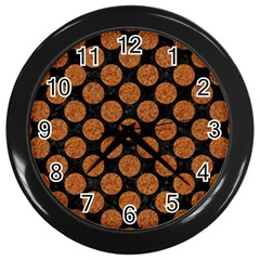 CIRCLES2 BLACK MARBLE & RUSTED METAL (R) Wall Clocks (Black)