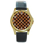 CIRCLES2 BLACK MARBLE & RUSTED METAL (R) Round Gold Metal Watch Front