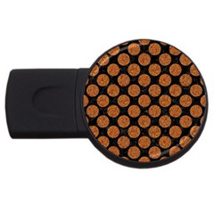 CIRCLES2 BLACK MARBLE & RUSTED METAL (R) USB Flash Drive Round (2 GB)