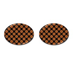 CIRCLES2 BLACK MARBLE & RUSTED METAL (R) Cufflinks (Oval)
