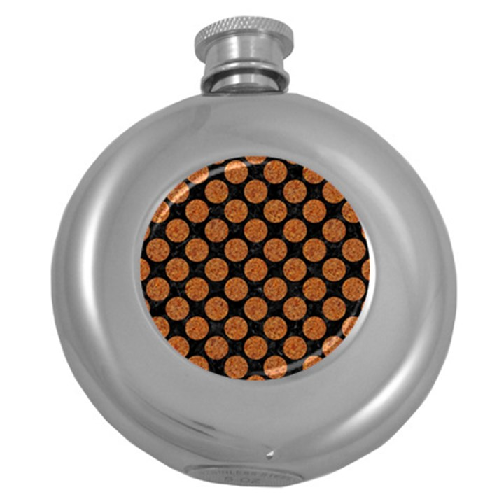 CIRCLES2 BLACK MARBLE & RUSTED METAL (R) Round Hip Flask (5 oz)