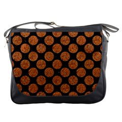 CIRCLES2 BLACK MARBLE & RUSTED METAL (R) Messenger Bags