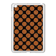 CIRCLES2 BLACK MARBLE & RUSTED METAL (R) Apple iPad Mini Case (White)