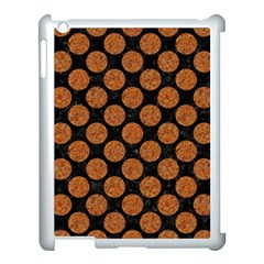 CIRCLES2 BLACK MARBLE & RUSTED METAL (R) Apple iPad 3/4 Case (White)