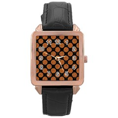 CIRCLES2 BLACK MARBLE & RUSTED METAL (R) Rose Gold Leather Watch