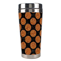 CIRCLES2 BLACK MARBLE & RUSTED METAL (R) Stainless Steel Travel Tumblers