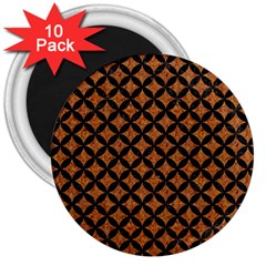 Circles3 Black Marble & Rusted Metal 3  Magnets (10 Pack)