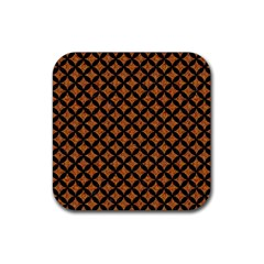 CIRCLES3 BLACK MARBLE & RUSTED METAL Rubber Coaster (Square)
