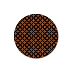CIRCLES3 BLACK MARBLE & RUSTED METAL Rubber Coaster (Round)