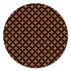 Circles3 Black Marble & Rusted Metal Magnet 5  (round) by trendistuff