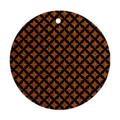 CIRCLES3 BLACK MARBLE & RUSTED METAL Round Ornament (Two Sides)
