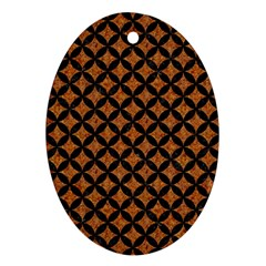 CIRCLES3 BLACK MARBLE & RUSTED METAL Oval Ornament (Two Sides)
