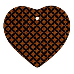 Circles3 Black Marble & Rusted Metal Heart Ornament (two Sides) by trendistuff