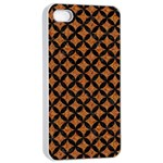 CIRCLES3 BLACK MARBLE & RUSTED METAL Apple iPhone 4/4s Seamless Case (White) Front