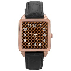 CIRCLES3 BLACK MARBLE & RUSTED METAL Rose Gold Leather Watch