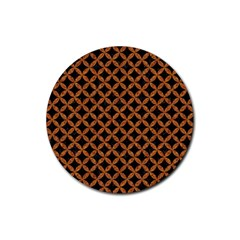 Circles3 Black Marble & Rusted Metal (r) Rubber Coaster (round)  by trendistuff
