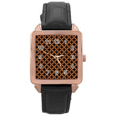 Circles3 Black Marble & Rusted Metal (r) Rose Gold Leather Watch  by trendistuff