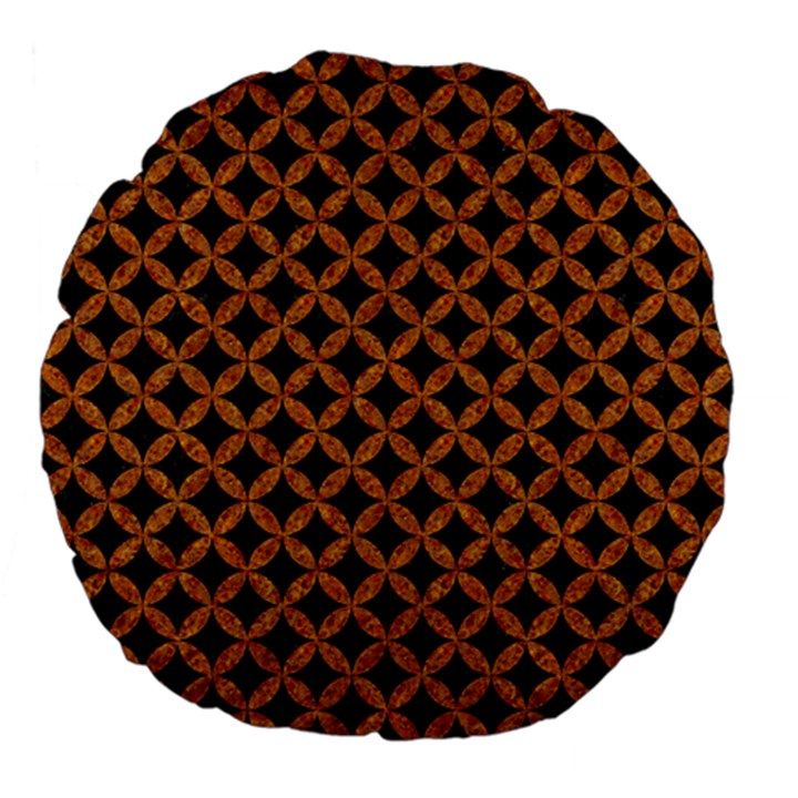 CIRCLES3 BLACK MARBLE & RUSTED METAL (R) Large 18  Premium Flano Round Cushions