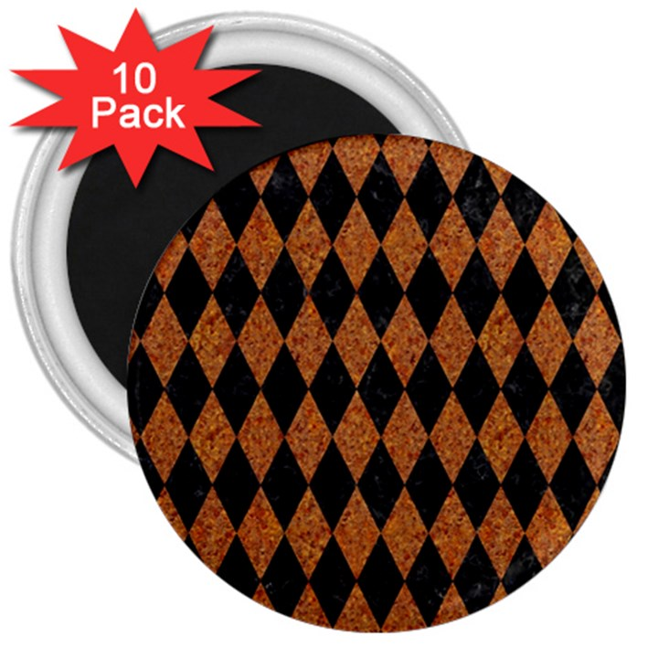 DIAMOND1 BLACK MARBLE & RUSTED METAL 3  Magnets (10 pack)