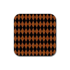 DIAMOND1 BLACK MARBLE & RUSTED METAL Rubber Coaster (Square)