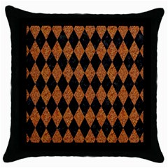 DIAMOND1 BLACK MARBLE & RUSTED METAL Throw Pillow Case (Black)