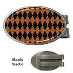 DIAMOND1 BLACK MARBLE & RUSTED METAL Money Clips (Oval)  Front
