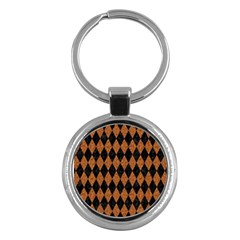 Diamond1 Black Marble & Rusted Metal Key Chains (round)  by trendistuff