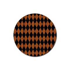 DIAMOND1 BLACK MARBLE & RUSTED METAL Rubber Coaster (Round)