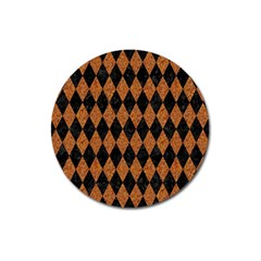 DIAMOND1 BLACK MARBLE & RUSTED METAL Magnet 3  (Round)