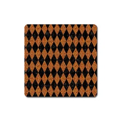 DIAMOND1 BLACK MARBLE & RUSTED METAL Square Magnet