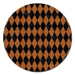 DIAMOND1 BLACK MARBLE & RUSTED METAL Magnet 5  (Round) Front